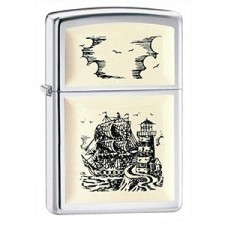 Zippo SCRIMSHAW SHIP HIGH POLISH CHROME